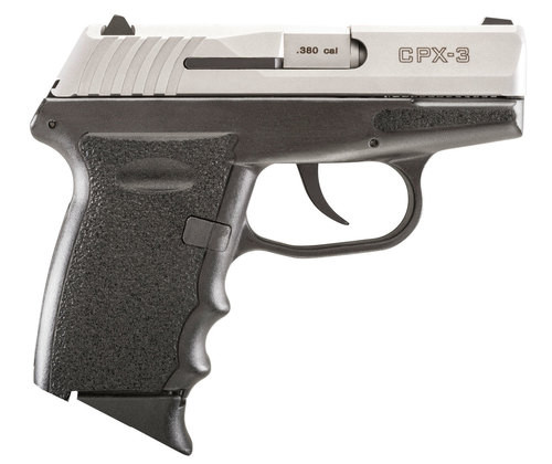 """SCCY CPX-3, .380 ACP, 4.96"""" Barrel, 10rd, Black Grip, Stainless Steel Slide"""