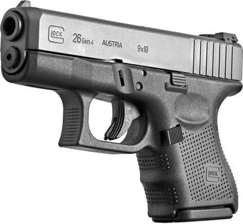 "Glock, 26 Gen 4, Safe Action, Sub Compact Pistol,9mm, 3.42"" Barrel, Polymer Frame, Matte Finish, Fixed Sights, 10Rd, 3 Magazines"