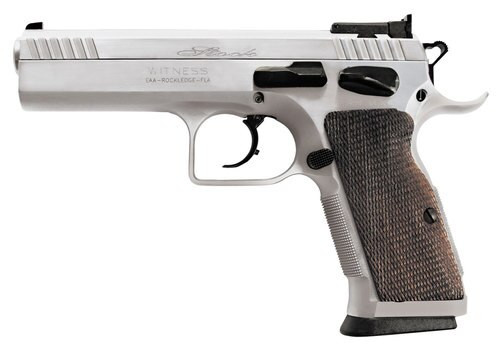 "EAA Witness Elite Stock 2, .38 Super, 4.5"" Barrel, 17rd, Checkered Walnut Grip, Chrome Competition"