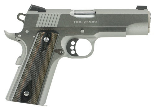 "Colt Combat Commander, 45 ACP, 4.25"" Barrel, 8rd, G10 Black Cherry Grips, Stainless Steel"