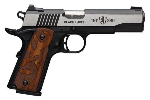 "Browning 1911 Black Label Medallion, .380 ACP, 3.625"", 8rd, Black Frame, Stainless Slide"