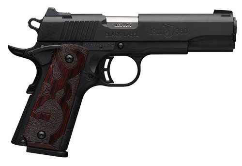 "Browning 1911, .380 ACP, 4.25"" Barrel, 8rd, Wood Grips, Black"