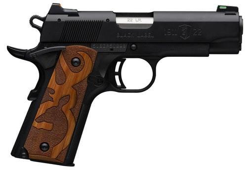 """Browning 1911 Black Label, .22 LR, 3 5/8"""" Barrel, 10rd, Brown Stippled Grips, Black"""