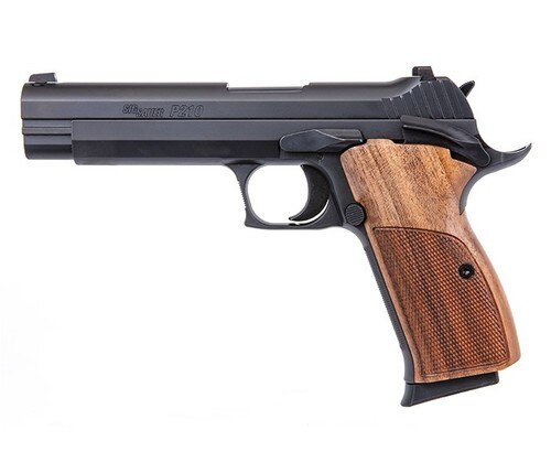 """Sig Sauer, P210 Standard, Single Action Only, Full Size, Metal Frame Pistol, 9mm, 5"""" Barrel, Steel Walnut Grips, Contrast Sights, 8 Rounds, 2 Magazines"""