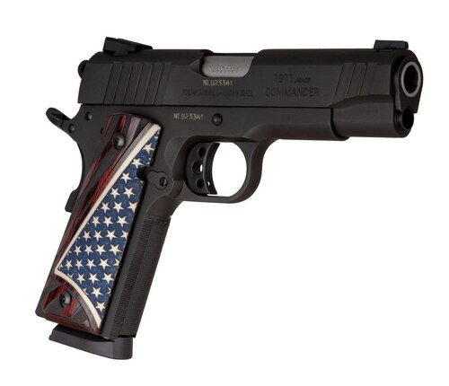 "Taurus 1911 Commander, 45 ACP, 4.25"" Barrel, 8rd, Rosewood W.Bonded Ivory Flag Grips"