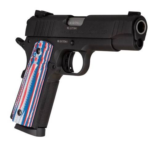 "Taurus 1911 Commander, 45 ACP, 4.25"" Barrel, 8rd, VZ Stars And Strips Agressive Texture Grips"