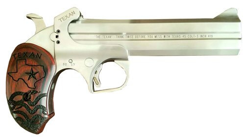 """Bond Arms, The Texan, Derringer, 410 Ga 3""""/45 Long Colt, 6"""" Barrel, Stainless Steel, With Trigger Guard, Fixed Sights, Rosewood Grips, 2Rd"""