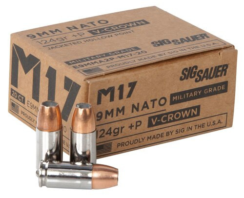 Sig Ammo 9mm 124gr, JHP, V-Crown, 20rd Box