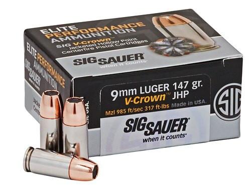 Sig Ammo Elite Match 9mm 147gr, JHP, V-Crown Comp, 50rd