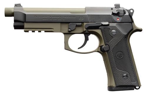 """*D*Beretta M9A3 9mm, 5.2"""" Barrel, Night Sights, Decocker, OD Green/Black, 17rd"""