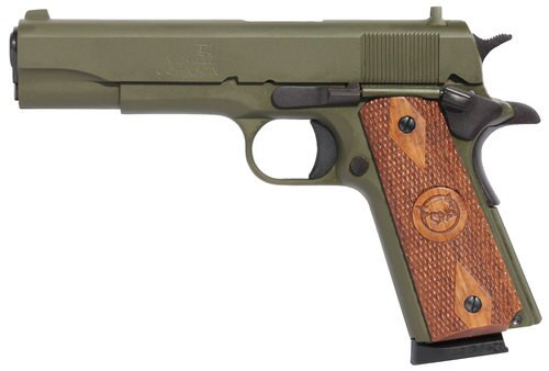 "Iver Johnson 1911 A1, 45 ACP, 5"", 8rd, Walnut Grips, OD Green"