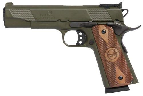 "Iver Johnson 1911 Eagle, 45 ACP, 5"", 8rd, Walnut Grips, OD Green"