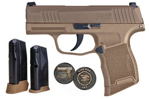 "Sig P365 NRA Edition 9mm, 3"" Barrel, XRAY3, Coyote, 10rd & 12rd Mags"