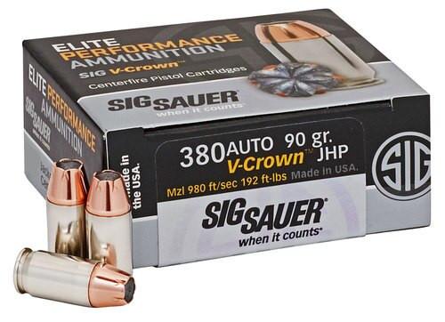 Sig V-Crown 380ACP 90gr, JHP, 20rd Box