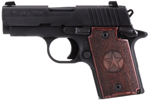 "Sig P938 Micro Texas 9mm, 3"", Rosewood Grip, Alum Frame, Nitron Slide, Night Sights, 6rd"