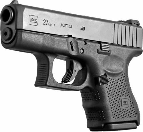 """Glock, 27 Gen 4, Safe Action, Sub-Compact, 40 S&W, 3.46"""" Barrel, Polymer Frame, Matte Finish, Fixed Sights, 9Rd, 3 Magazines"""