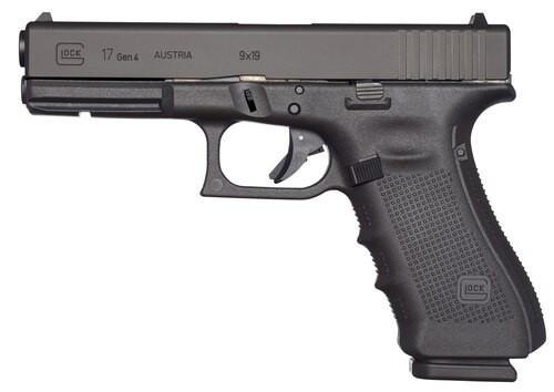 "Glock, 17 Gen4, Striker Fired, Full Size, 9mm, 4.49"" Barrel, Polymer Frame, Matte Finish, Fixed Sights, 10Rd, 3 Magazines"