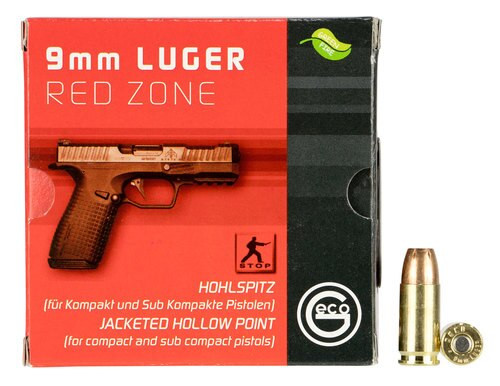 Geco 9mm 124gr JHP Red Zone, 20rd Box