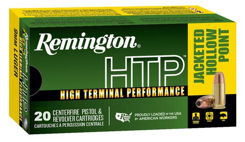 Remington Ammo HTP 9mm 147gr, Jacketed Hollow Point 20rd Box