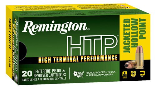 Remington Ammo HTP 9mm 115gr, Jacketed Hollow Point 20rd Box