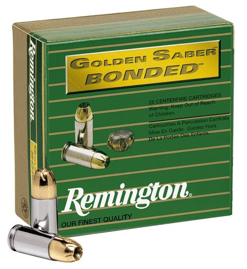 Remington Ammo Golden Saber Bonded 40SW 180gr, Brass Jacket Hollow Point, 20rd Box