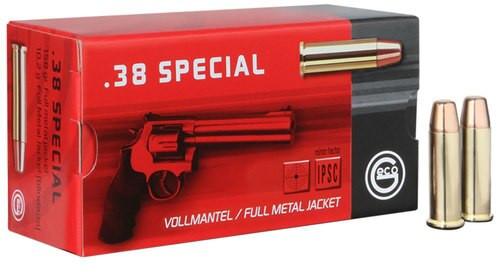 GECO Geco Handgun Ammunition 38 Special 158gr, Full Metal Jacket Flat Nose, 50rd Box