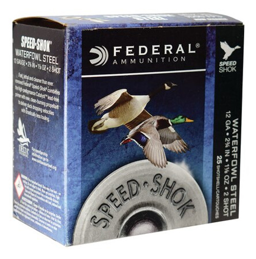 "Federal Speed-Shok 12 Ga, 2.75"", 1-1/8oz, 2 Shot, 25rd/Box"