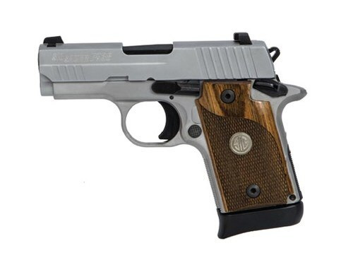 """*D*Sig P938, 9mm, 3"""", 6rd/7rd, Night Sights, Ambidextrous Safety, Wood Grips, Stainless"""