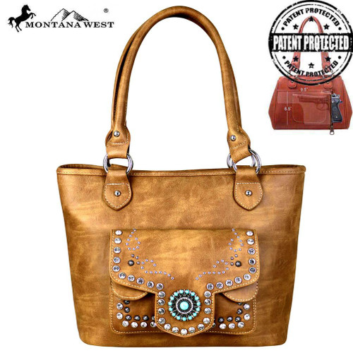 Montana West Concho Collection Concealed Carry Tote, Turquoise, Brown