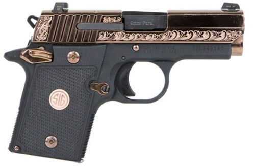 "Sig P938, 9mm, 3"", 6rd, SIGLITE NS, Ambidextrous Safety, Rose Gold"