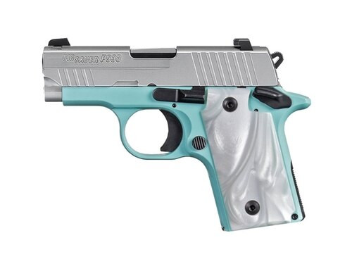 "SIG P938, 9mm, 3"", 7rd, SIGLITE NS, Robin Egg Blue"