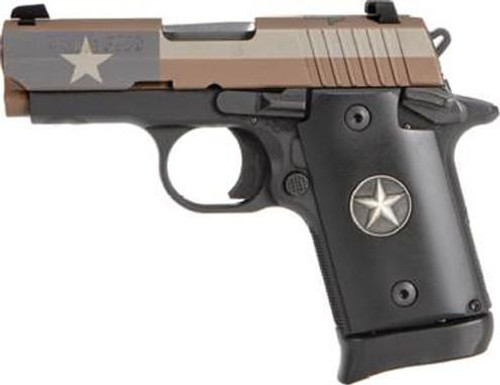 "Sig P938, 9mm, 3"", 6rd, SIGLITE NS, Ambidextrous Safety, Texas Flag"