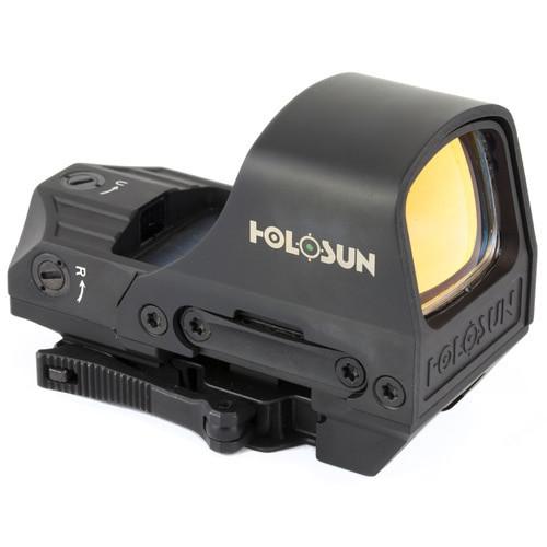 Holosun Technologies, Open Reflex, Green 2MOA Dot or 2MOA Dot with 65MOA Circle, Solar with Internal Battery, Quick Release Mount, AR Riser, Protective Hood, Black
