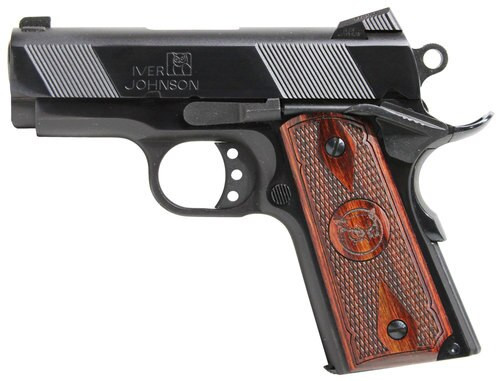"IVER JOHNSON 1911 Thrasher Officer 70 Series 45 ACP Single 3.125"" Barrel, Walnut Grip Polished Blued Steel Frame/Slide, 7rd"