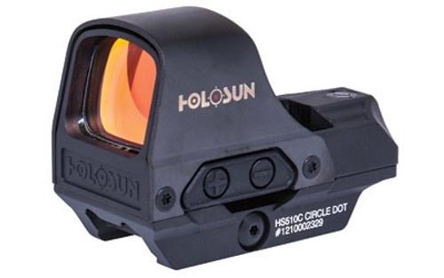 Holosun Technologies, Open Reflex, 2MOA Dot or 2MOA Dot with 65MOA Circle, Solar with Internal Battery, Quick Release Mount, AR Riser, Protective Hood, Black