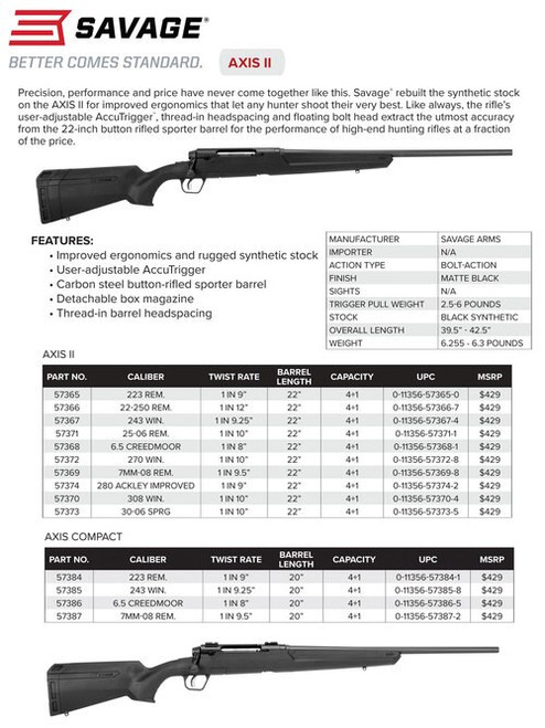 "Savage Axis II Compact, 6.5 Creedmoor, 20"" Barrel, Black Color, Black Polymer Stock, 4Rd, Detachable Box Magazine"