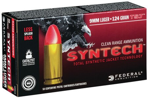 Federal American Eagle Syntech 9mm 124gr, Total Synthetic Jacket, 50rd Box