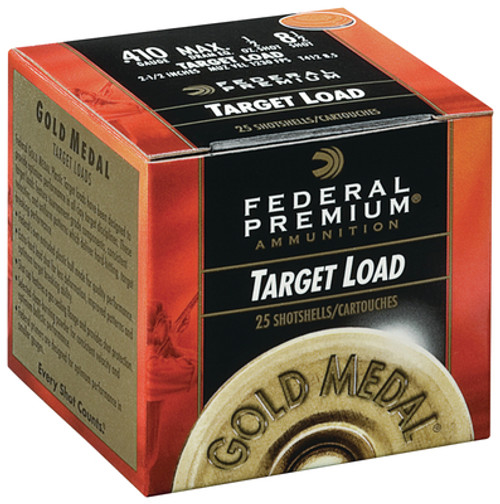 "Federal Gold Medal .410 Ga, 2.5"", 1230 FPS, .5oz, 8.5 Shot, 250rd/Case"