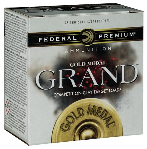 "Federal Gold Medal Grand Target 12 Ga, 2.75"", 1-1/8oz, 8 Shot, 1100 FPS, 25rd/Box"