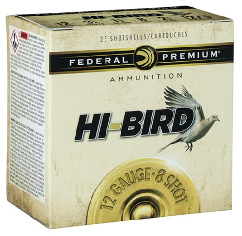 "Federal Hi-Bird Game Load 12 Ga, 2.75"", 1-1/4oz, 4 Shot, 25rd/Box"