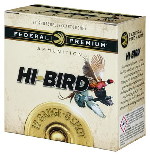 "Federal Hi-Bird Game Load 12 Ga, 2.75"", 1-1/8oz, 8 Shot, 1330 FPS, 25rd/Box"
