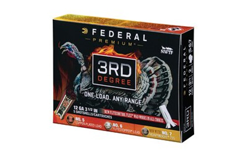 "Federal Third Degree Turkey 12 Ga 3.5"" 2oz, 5,6,7 Shot, 5rd/Box"