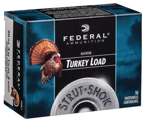 "Federal Strut-Shok Turkey 20 Ga, 3"", 1-1/4oz, 5 Shot, 10rd/Box"