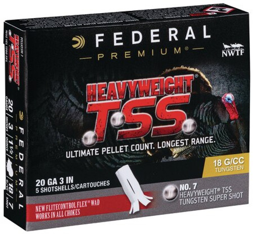 "Federal HeavyWeight TSS 20 Ga, 3"", 1-1/2oz, 7 Shot, 5rd/Box"