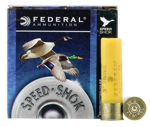 "Federal Speed-Shok 20 Ga, 3"", 7/8oz, Steel, 1550 FPS, 1 Shot, 25rd/Box"