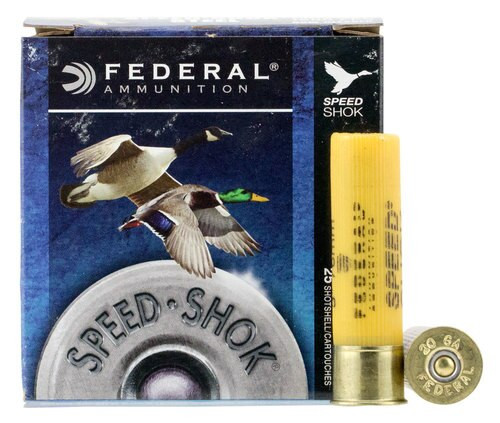 "Federal Speed-Shok 20 Ga, 3"", 7/8oz, Steel, 1500 FPS, 4 Shot, 25rd/Box"