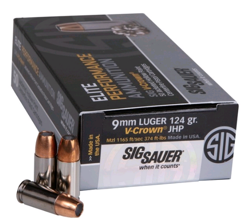 Sig Ammo 9mm 124gr, JHP, Elite V-Crown, 50rd Box