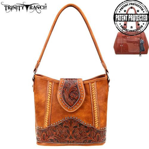 Montana West Trinity Ranch Tooled Leather Collection Concealed Carry Hobo, Brown