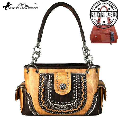 Montana West Concho Collection Concealed Carry Satchel, Brown