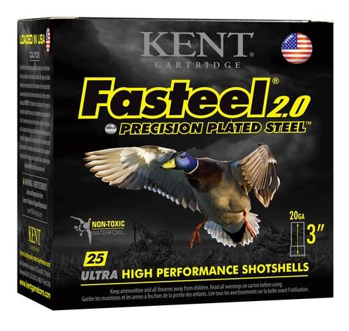 "Kent Fasteel Waterfowl 20 Ga, 3"", 7/8oz, 2 Shot, 25rd/Box"